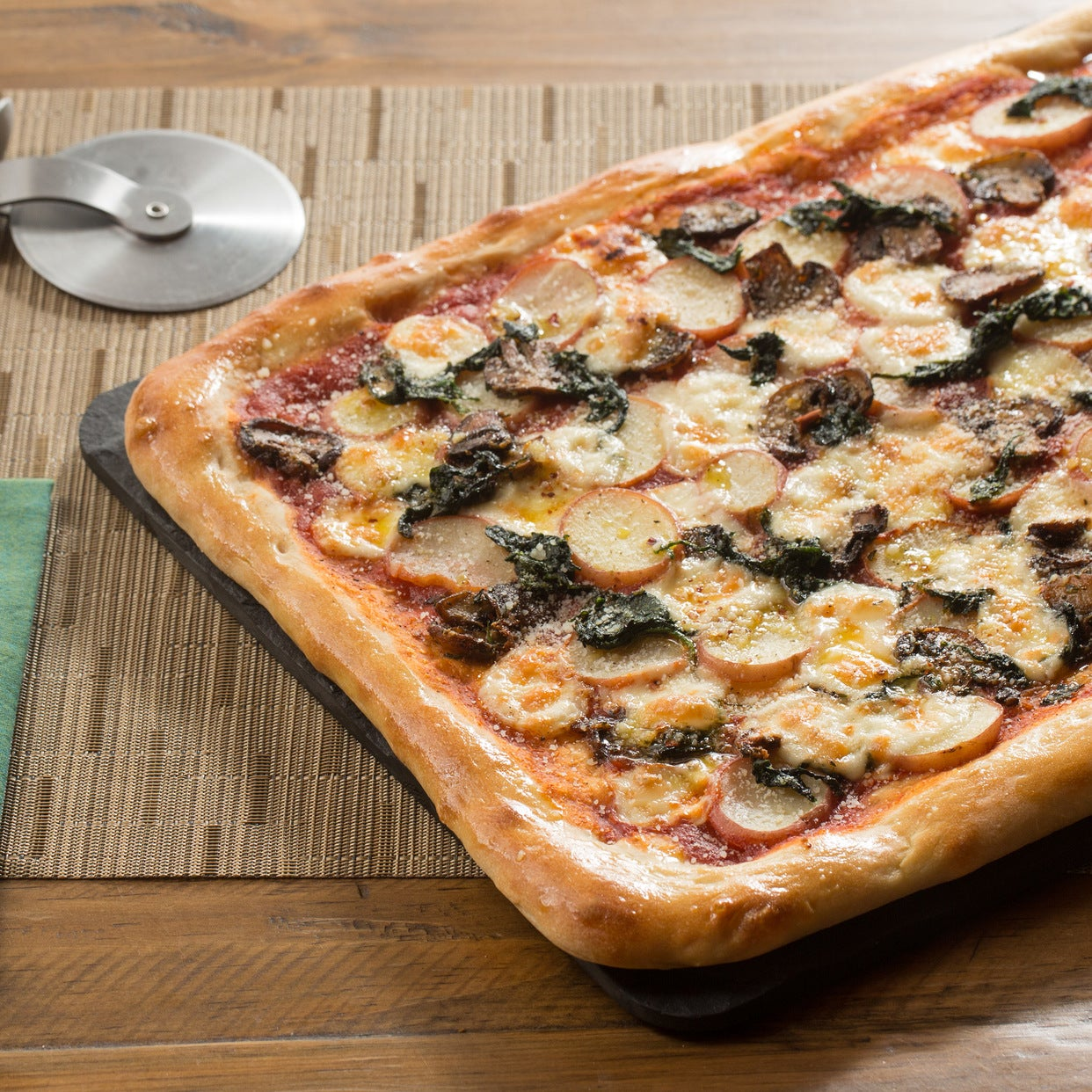 Mushroom & Potato Pizza with Fontina Cheese, Spinach & Garlic Oil