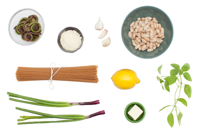 Whole Wheat Spaghetti with Fiddleheads & Spring Onions ingredients