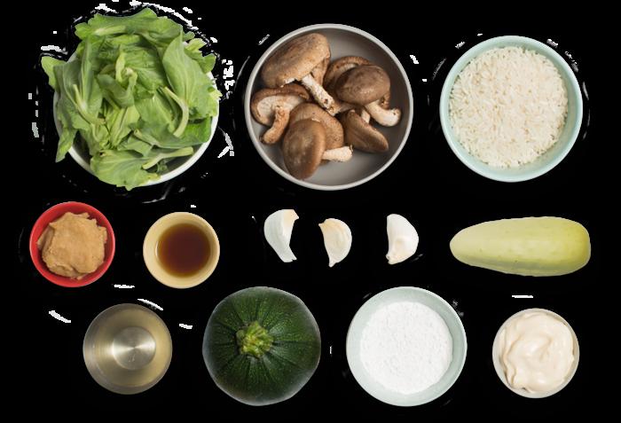 Japanese Rice Bowl & Mushroom Tempura with Zucchini & Marinated Cucumber ingredients