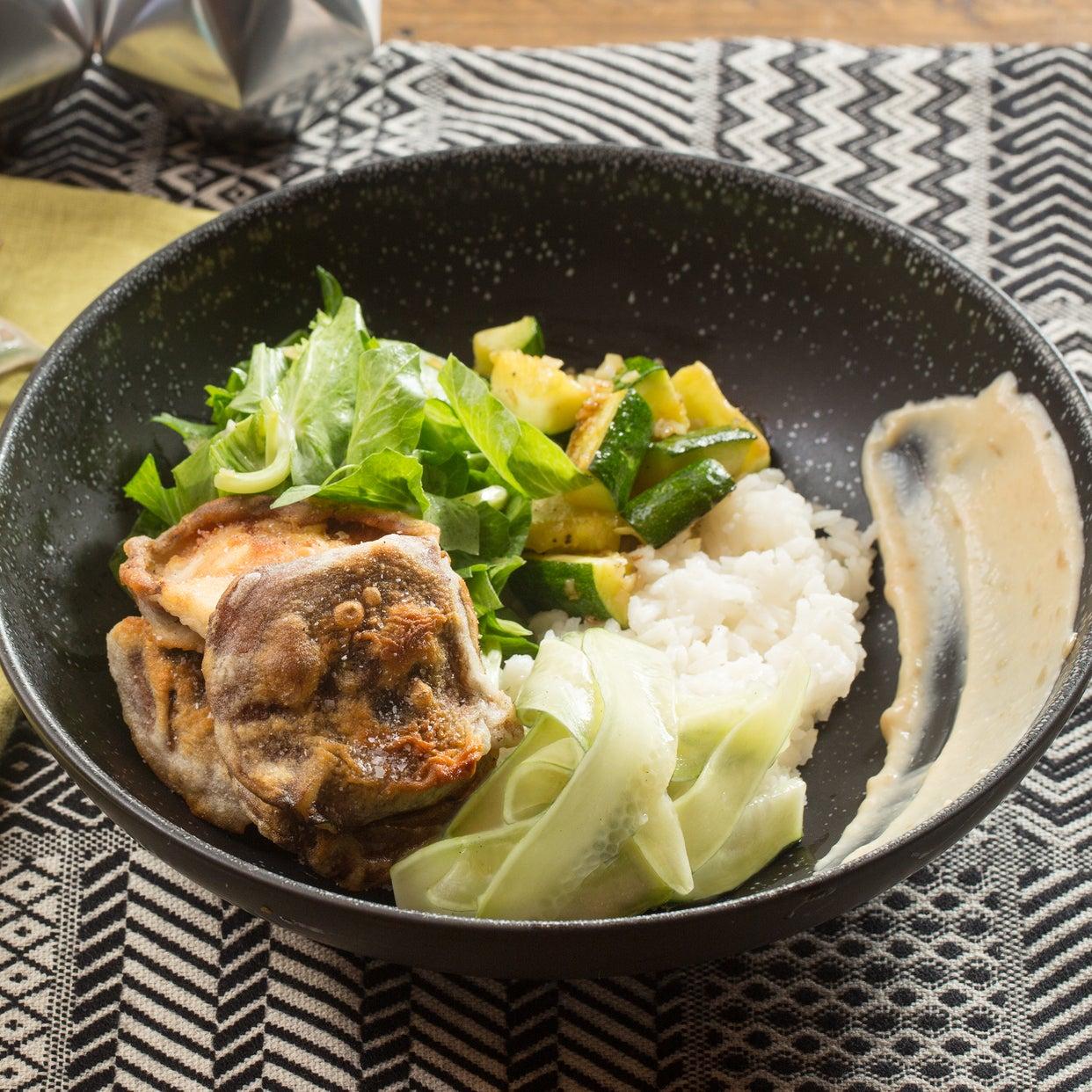 Japanese Rice Bowl & Mushroom Tempura with Zucchini & Marinated Cucumber