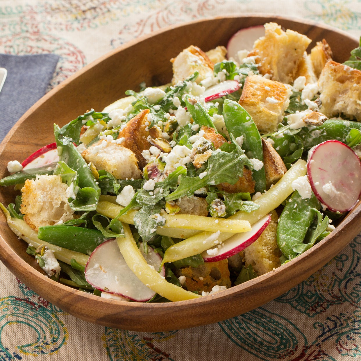 Summer Bean & Goat Cheese Panzanella with Garlic Croutons & Toasted Pistachios