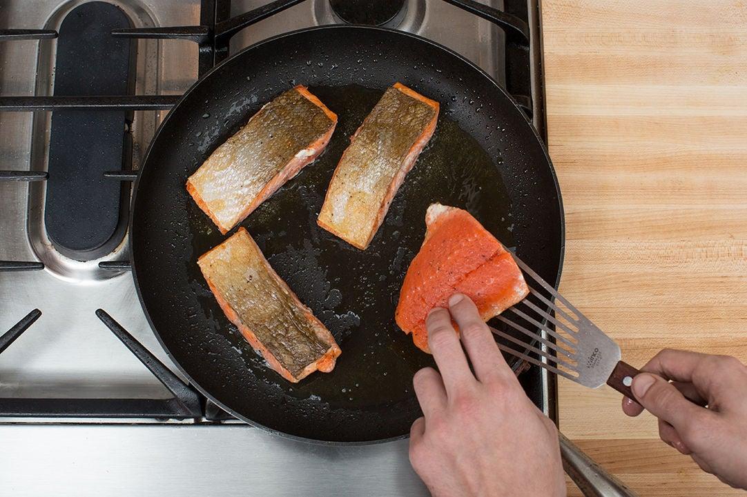 Cook & flake the salmon: