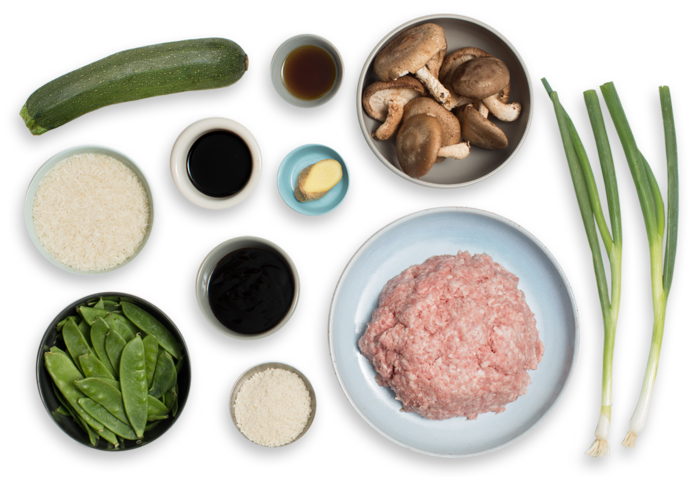 Soy-Ginger Pork Meatballs with Zucchini & Snow Pea Fried Rice ingredients