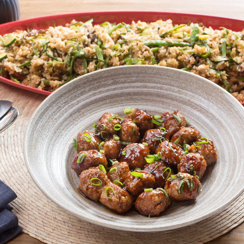 Soy-Ginger Pork Meatballs with Zucchini & Snow Pea Fried Rice