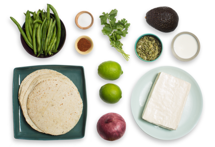 Spiced Queso & Pickled Red Onion Tacos with Green Beans, Avocado & Toasted Pepitas