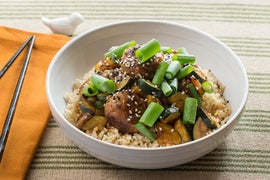 Spicy Hoisin Turkey Meatballs with Sautéed Zucchini & Brown Rice