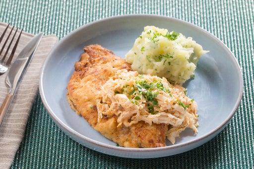 Crispy Catfish & Parsley Mashed Potatoes with Spicy Cajun Slaw