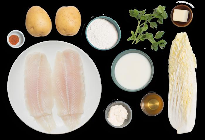 Crispy Catfish & Parsley Mashed Potatoes with Spicy Cajun Slaw ingredients