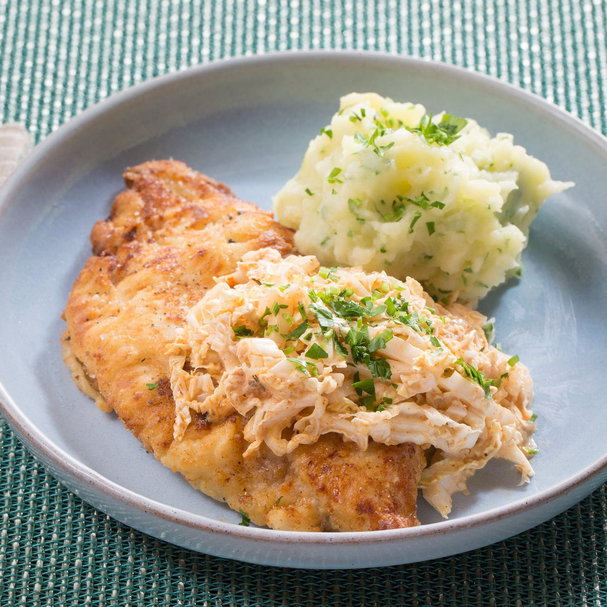 Crispy Catfish & Parsley Mashed Potatoes with Spicy Cajun Slaw