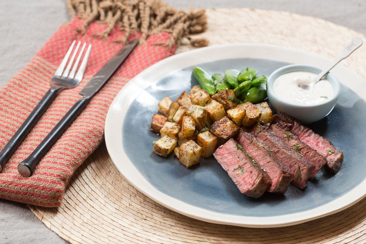 Seared Steak & Spiced Potato with Sautéed Sugar Snap Peas & Tarragon ...