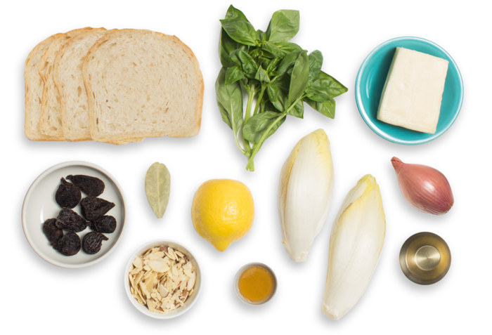 Grilled Fontina & Fig Jam Sandwiches with Endive, Basil & Almond Salad ingredients