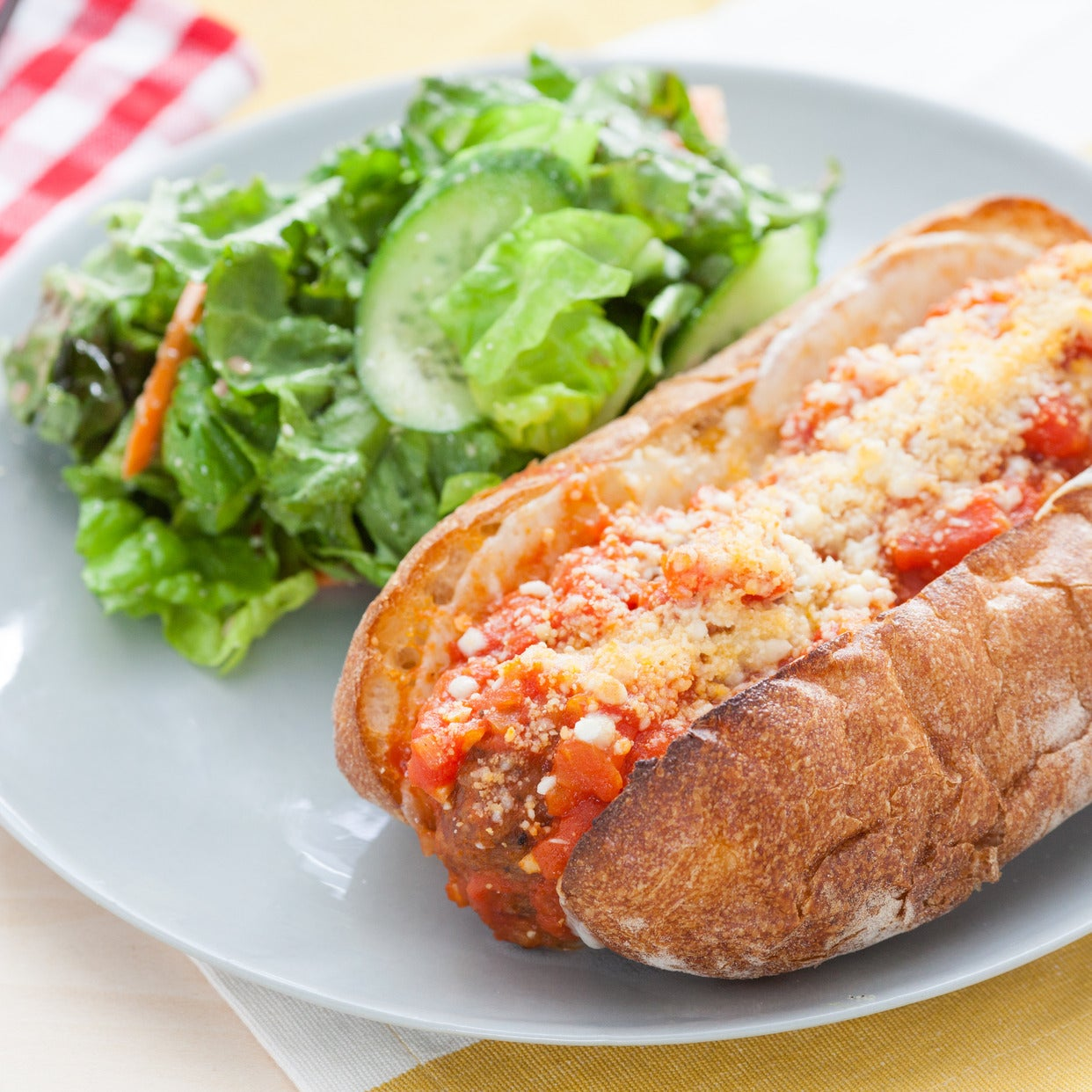 Meatball Subs with Red Leaf Salad