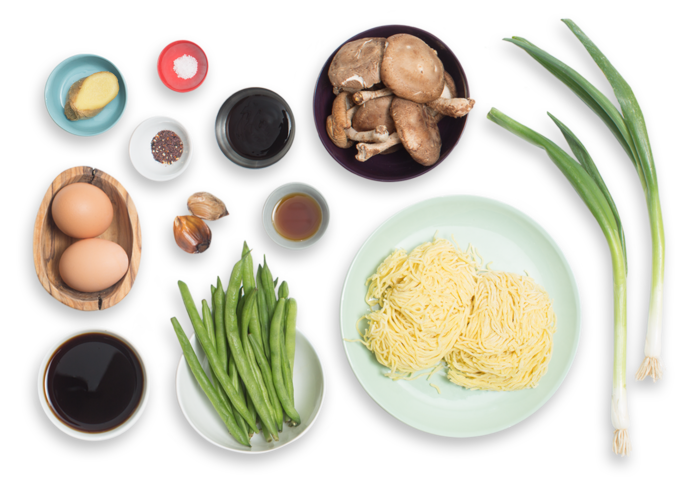 Black Garlic-Shoyu Ramen with Green Beans & Shiitake Mushrooms ingredients