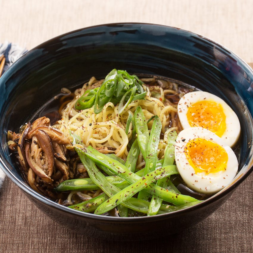 Black Garlic-Shoyu Ramen with Green Beans & Shiitake Mushrooms
