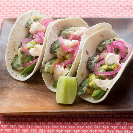 Summer Squash Tempura Tacos with Pickled Red Onion & Cucumber-Jalapeño Salsa