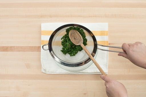 Cook & drain the arugula: