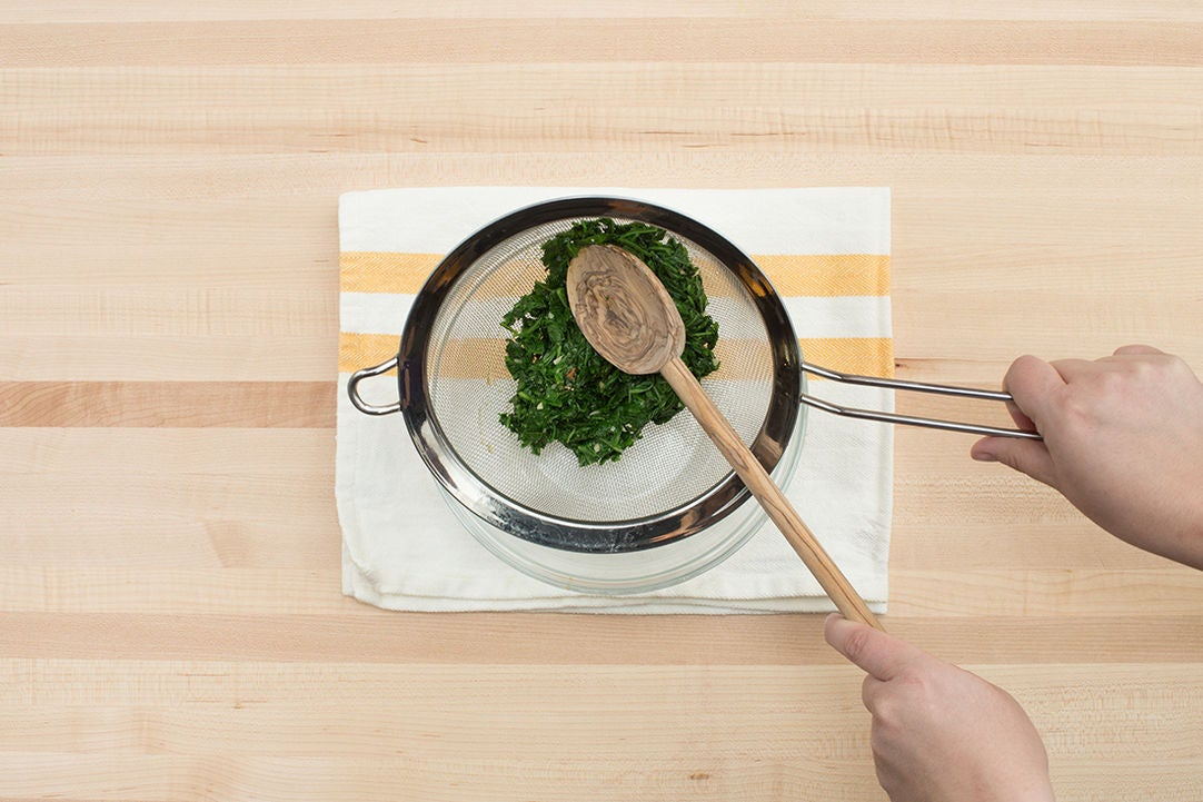 Cook & drain the arugula: