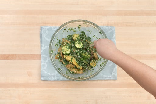 Make the pesto & dress the vegetables: