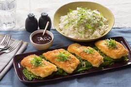 Katsu-Style Cod with Ginger Rice & Sesame Snow Peas