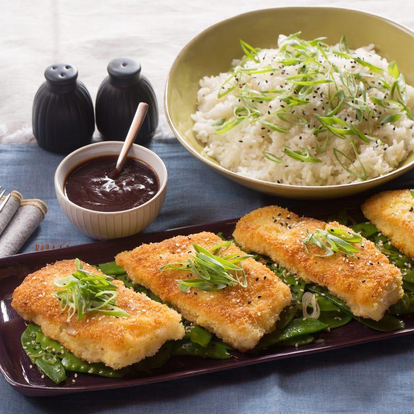 Katsu-Style Cod with Ginger Rice & Sesame Snow Peas