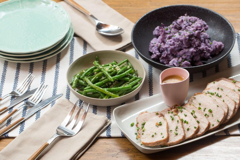 Roast Pork & Pan Sauce with Mashed Purple Potatoes & Sautéed Green Beans
