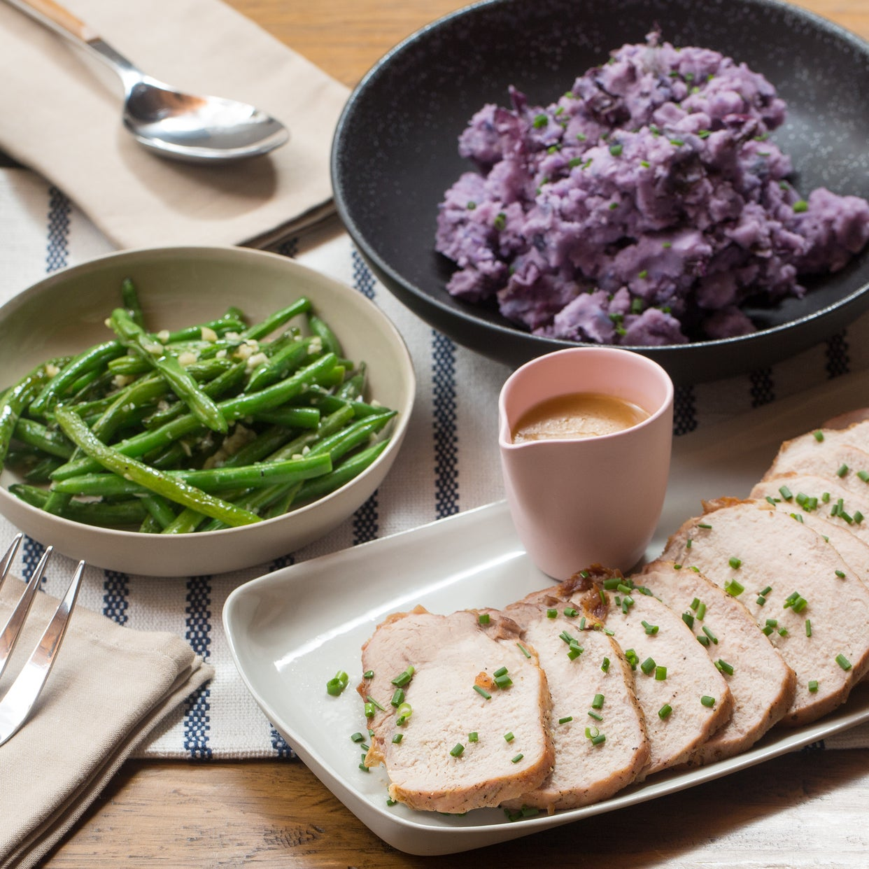 Roast Pork & Pan Sauce with Mashed Purple Potatoes & Sautéed Green Beans