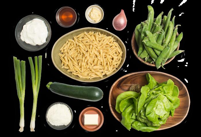 Creamy Strozzapreti Pasta with English Peas, Zucchini & Mascarpone Cheese ingredients