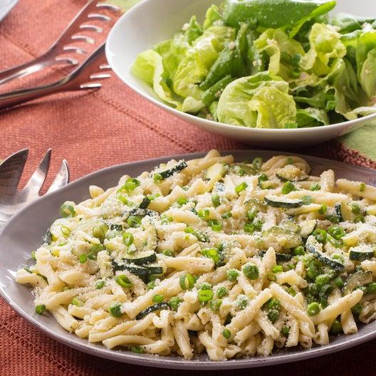 Creamy Strozzapreti Pasta with English Peas, Zucchini & Mascarpone Cheese