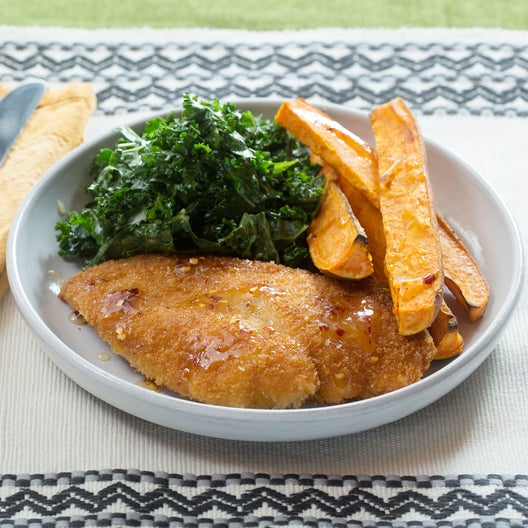 Fried Chicken & Kale Slaw with Roasted Sweet Potato Wedges & Hot Honey