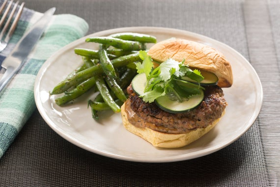Recipe: Ginger Pork Burgers with Black Bean Mayo & Furikake-Dressed ...