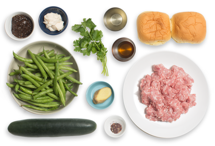 Ginger Pork Burgers with Black Bean Mayo & Furikake-Dressed Green Beans ingredients
