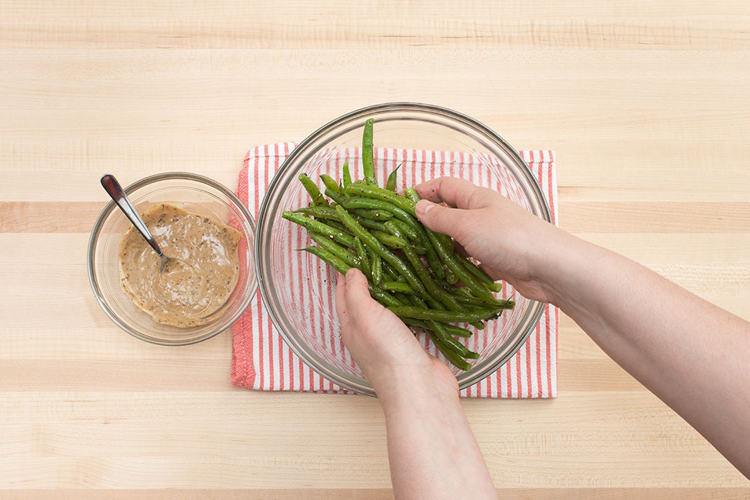 Make the black bean mayo & dress the green beans: