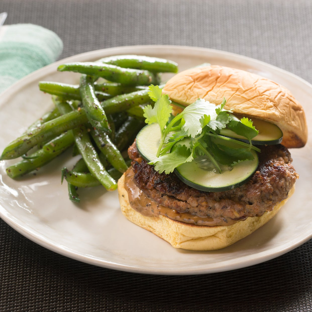 Ginger Pork Burgers with Black Bean Mayo & Furikake-Dressed Green Beans