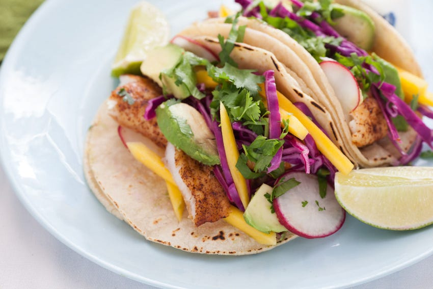 Chili-Dusted Fish Tacos  with Pickled Red Cabbage, Mango & Avocado