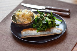 Trout with Creamy Potato Salad & Wilted Spinach
