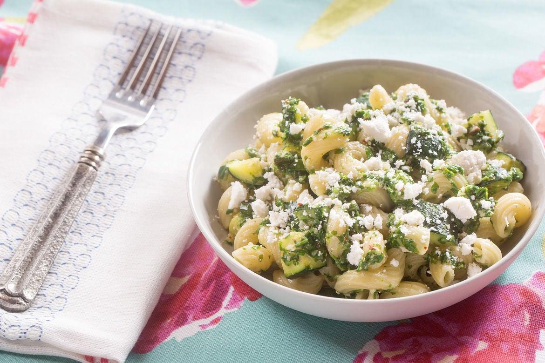 Cavatappi Pasta & Arugula Pesto with Summer Squash & Ricotta Salata