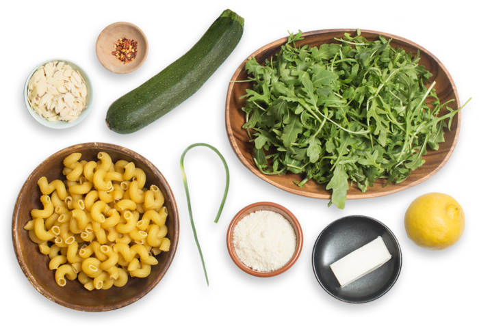 Cavatappi Pasta & Arugula Pesto with Summer Squash & Ricotta Salata ingredients