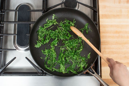 Cook & chop the arugula: