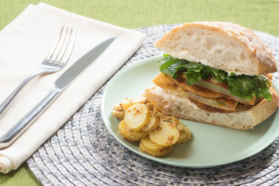 Fried Green Tomato Sandwiches with Aioli & Potato Salad
