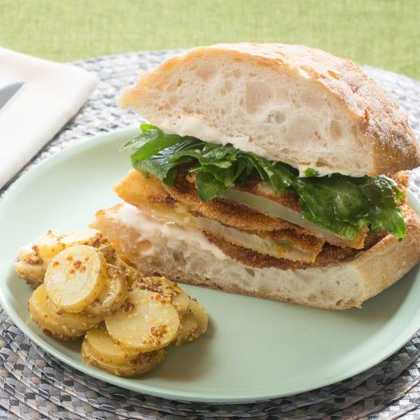 Fried Green Tomato Sandwiches with Aioli & Potato Salad