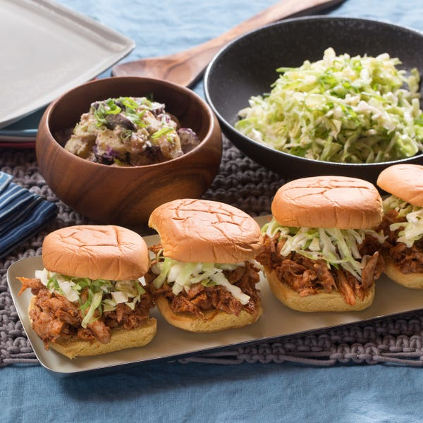 Shredded BBQ Chicken Sandwiches with Creamy Potato Salad & Coleslaw