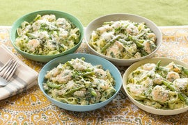Creamy Shrimp Fettuccine with Sautéed Green Beans & Spinach