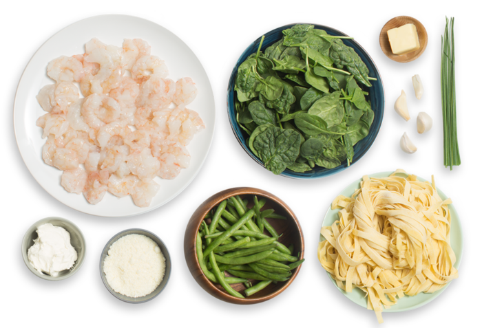 Creamy Shrimp Fettuccine with Sautéed Green Beans & Spinach ingredients