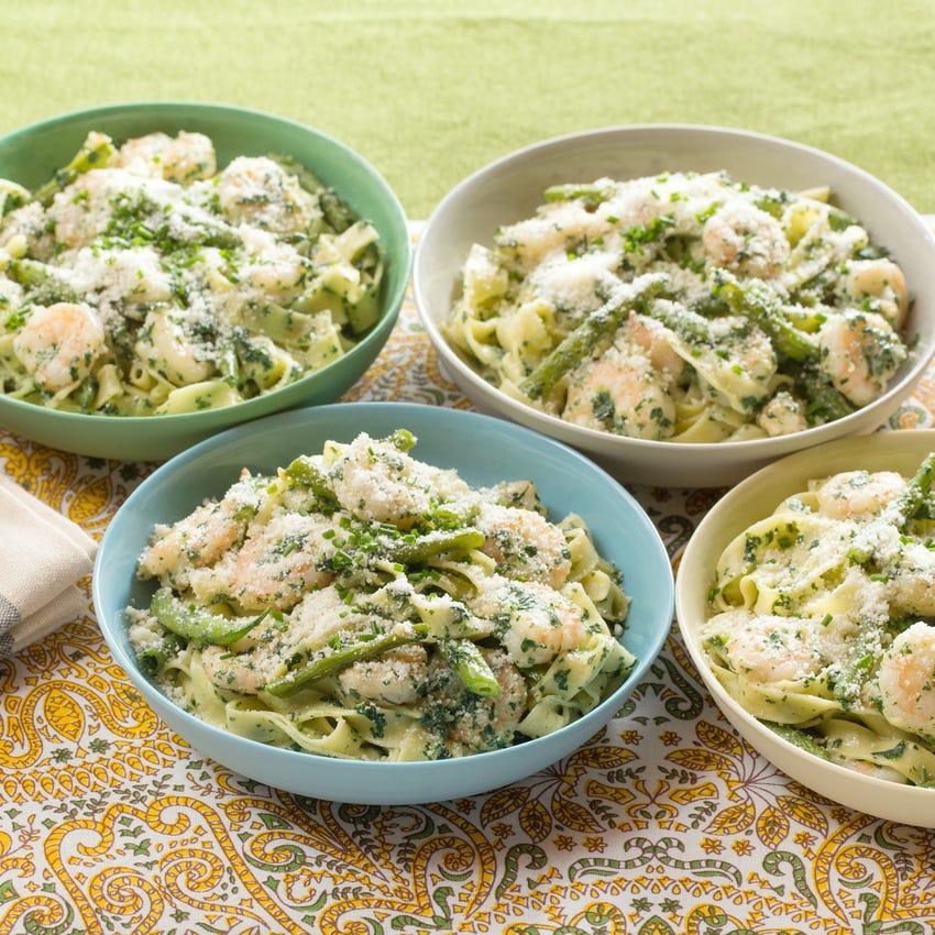 Creamy Shrimp Fettuccine with Sautéed Green Beans & Spinach