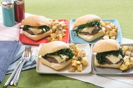 Fontina Cheeseburgers on Ciabatta with Garlic-Rosemary Potatoes