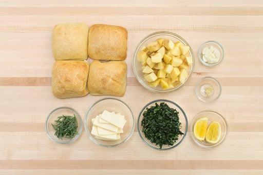 Prepare the ingredients & dress the kale:
