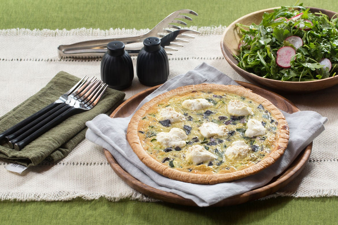 Red, White & Blue Quiche with Radish, Basil & Arugula Salad