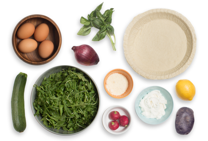 Red, White & Blue Quiche with Radish, Basil & Arugula Salad ingredients