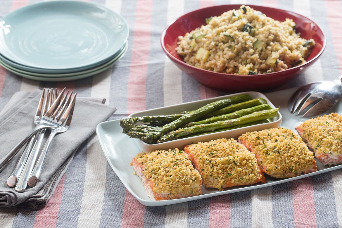 Herb-Crusted Salmon with Roasted Asparagus & Zucchini-Freekeh Salad