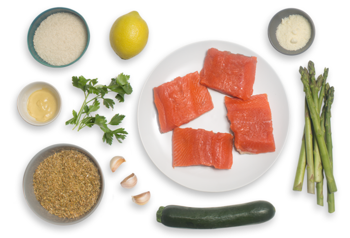 Herb-Crusted Salmon with Roasted Asparagus & Zucchini-Freekeh Salad ingredients